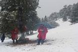 Paisatge i meteorologia de febrer al Ripollès Neu al coll de Pan, en un control de la Hivernal de Campdevànol (16 de febrer). Foto: Pere Masdeu Castell