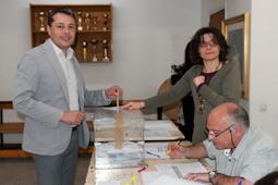 Municipals 2015: candidats del Baix Ripollès i ambient matinal Ramon Roqué (MES Sant Joan de les Abadesses). Foto: Marc Cargol