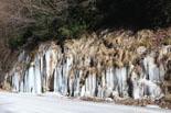 Rius glaçats per l'onada de fred Glaç a la N-260 entre Ripoll i Ribes de Freser. Foto: Josep Maria Costa