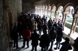 Obres de restauració del claustre del Monestir de Ripoll