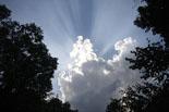 Ripollès: paisatge i meteorologia (juny-juliol 2011) Els núvols amaguen un sol que intenta sortir després de la tempesta. Foto: Arnau Urgell