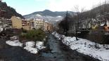 Nevada del 28 i 29 de gener L'aiguabarreig del Freser i el Rigard diumenge al matí. Foto: Laia Deler