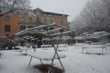 Nevada del 7 i el 8 de març La plaça de l'Ajuntament de Ripoll (11:00). Foto: Arnau Urgell