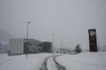 Nevada del 7 i el 8 de març L'Escola del Treball ben blanca (11:30). Foto: Arnau Urgell