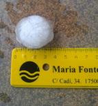 Fortes tempestes al Ripollès 16-21 de juliol Pedres de quasi 4 cm a Ripoll (19 de juliol). Foto: @pepricart