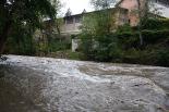 Temporal de pluja del 10 d'octubre El Ter al passeig dels Aurons de Ripoll. Foto: Arnau Urgell