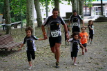 I Cursa de les Quatre Ermites de Ripoll Jordi Tubau i Albert Tubau arribant a la meta del passeig Ragull. Foto: Arnau Urgell