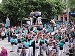 Actuació castellera durant la Fira de l'Ascensió 2013