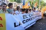 Manifestació 10-J: les fotos dels ciutadans La pancarta de la Plataforma per la Llengua. Foto: Eva Inglés