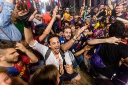 Celebració de la Champions a Canaletes