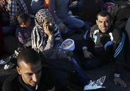 Arribada dels refugiats sirians a l'illa de Kos  Una família siriana de Kobane acabats d'arribar al port de Kos.
