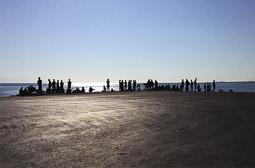 Arribada dels refugiats sirians a l'illa de Kos  Un grup de pakistanesos esperen a ser identificats al port de l'illa de Kos.