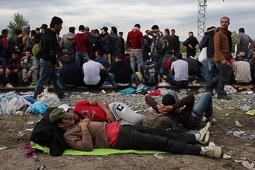 Refugiats sirians a la frontera Sèrbia-Croàcia Uns joves refugiats esperen a l'estació del poble croat de Tovarnik, que arribi el tren que els durà cap a Hongria per anar després a Austria. Foto: Sergi Cámara
