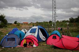 Refugiats sirians a la frontera Sèrbia-Croàcia Una nena juga dins d'una de les tendes instal·lades per tal d'esperar poder pujar a alguns dels autobusos que les autoritats croates posen per tal de portar-los cap a la frontera hongaresa. Foto: Sergi Cámara