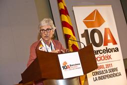 Muriel Casals, tota una vida de lluita 10/04/2011. Muriel Casals, valorant els resultats de Barcelona Decideix. Foto: Adrià Costa.