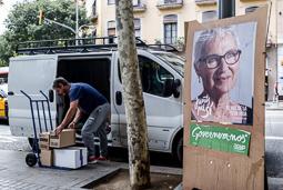 Muriel Casals, tota una vida de lluita 15/09/2015. Muriel Casals en un cartell de la campanya de Junts pel Sí, al centre de Barcelona. Foto: Adrià Costa.