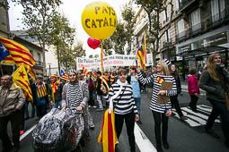 Les millors fotos de la setmana de Nació Digital Coincidint amb el 7 de novembre, dia en què es commemora la signatura del Tractat dels Pirineus, una manifestació ha recorregut els carrers de Perpinyà per reivindicar la unitat dels Països Catalans. Foto: Martí Albesa