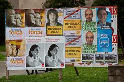 Carme Chacón, fotos històriques de la dirigent socialista Cartells de les eleccions espanyoles de l'any 2011.Foto: Adrià Costa