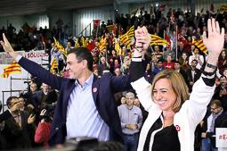 Carme Chacón, fotos històriques de la dirigent socialista Pedro Sánchez i Carme Chacón, a l'Hospitalet de Llobregat en un acte de la campanya de les eleccions espanyoles del 2015. Foto: Isaac Meler