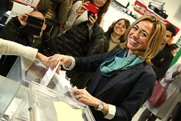 Carme Chacón, fotos històriques de la dirigent socialista Carme Chacón, votant a les eleccions espanyoles del 2015.Foto: ACN