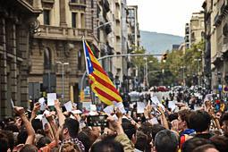 Concentració a Via Laietana contra la policia espanyola