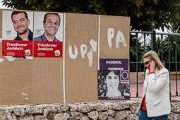 Eleccions andaluses 2015 Cartells electorals a Nerja, Màlaga.