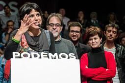 Eleccions andaluses 2015 Teresa Rodríguez, en un moment de la seva intervenció després de conèixer els resultats.