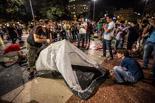 Acampada per la independència a la plaça de Catalunya