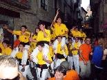 Bateig dels Castellers de Solsona Marxa festiva dels castellers anant a sopar