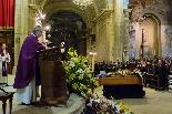 Funeral pel jove Aleix Ribera Mn. Joan Lladó, que havia batejat l'Aleix, va presidir el funeral