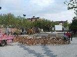 Preparatius Final Copa del Rei 2011 La Joventut Solsonina ha posat 200 cadires a la Plaça del Camp per veure el partit