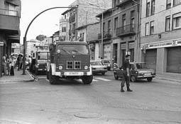 Estimats bombers (1978-94) Vehicle BUP (Bomba Urbana Pesant) 125, en un servei a Vic. Foto: Arxiu La Marxa