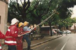 Estimats bombers (1978-94) Retirant branques trencades per una tempesta. Foto: Arxiu La Marxa