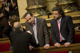 Ramon Espadaler, l'àlbum de fotos Al Parlament, el dia de constitució de la nova legislatura, al costat d'Antoni Castellà, d'UDC (16/12/2010).