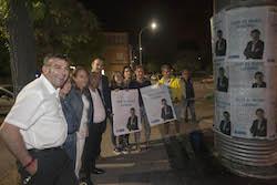 Municipals 2015: Inici de la campanya electoral a Sabadell L'equip del PP mostra els seus cartells.