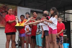 La Flama del Canigó arriba a Sabadell, 2015 Encesa de torxes.