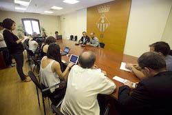 Ple de constitució de l'Ajuntament de Sabadell Roda de premsa posterior a la investidura.