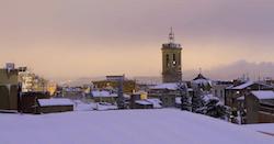 Una nevada històrica El campanar de Sant Fèlix, després de la nevada. Isabel Marquès.