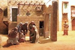 Preparació dels pessebres de l'Agrupació de Pessebristes de Sabadell