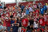 Futbol: Girona 1 - Saragossa 4 Aficionats del Girona durant el partit entre el Girona i el Saragossa.