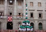 Festes de la Mercè: jornada castellera Els Castellers de Vilafranca també han fet un 'gamma extra' a la plaça de Sant Jaume, la Torre de Nou amb folre i manilles.