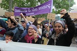 Manifestació obrera i feminista a la Fira Modernista de Terrassa 2016
