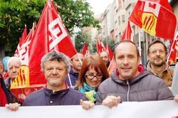 Manifestació de CCOO i Mina a Terrassa