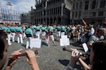 Els Castellers de Vilafranca, a Brussel·les pel Catalans Want To Vote