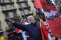 Les fotografies del 9-N Membres de l'ultra dreta davant la delegació del Govern. Foto: Jordi Borràs