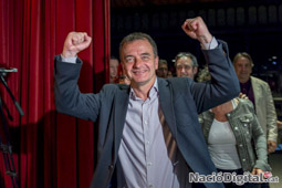Municipals 2015 a Barcelona Alfred Bosch celebrant els resultats d'ERC.</br>Foto: Josep M. Montaner