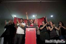 Municipals 2015 a Barcelona Ada Colau celebrant la victòria.</br>Foto: Carles Palacio</br>Foto: Carles Palacio