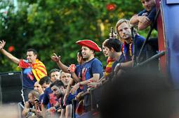 Rua de celebració del triplet del Barça