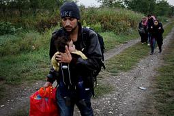 Refugiats sirians a la frontera Sèrbia-Croàcia Una família siriana camina en direcció a l'estació de tren a Tovarnik, Croàcia. Foto: Sergi Cámara