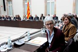 Muriel Casals, tota una vida de lluita 19/02/2014. Muriel Casals i Carme Forcadell, a la segona reunió del Pacte Nacional pel Dret a Decidir. Foto: Rafa Garrido.